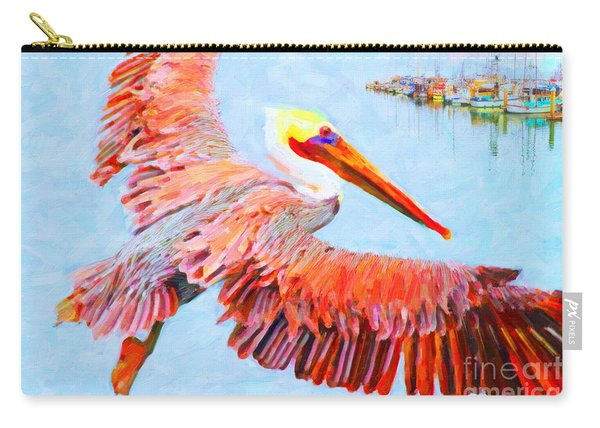 Pelican Flying Back To The Docks Carry-all Pouch