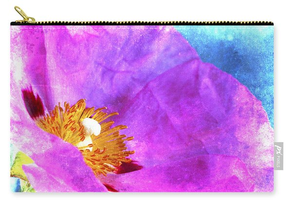 Pink Rock Rose On Blue Carry-all Pouch