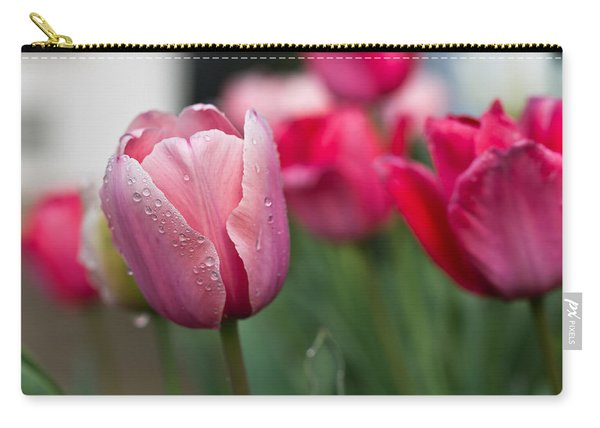 Pink Tulips With Water Drops Carry-all Pouch