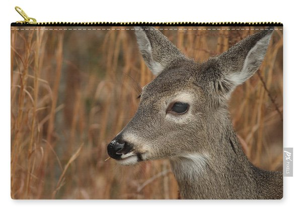 Portrait Of  Browsing Deer Carry-all Pouch