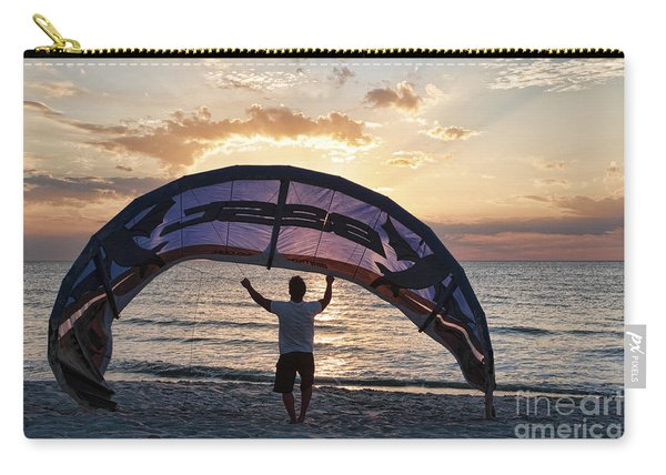 Putting Away The Kite At Clam Pass At Naples Florida Carry-all Pouch