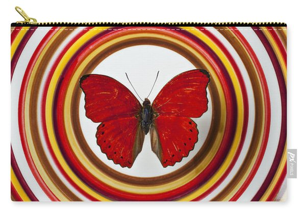 Red Butterfly On Plate With Many Circles Carry-all Pouch