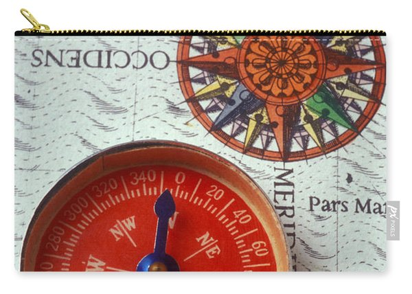 Red Compass And Rose Compass Carry-all Pouch