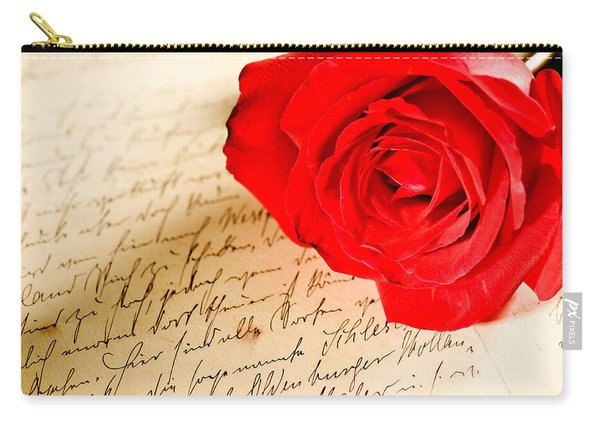 Red Rose Over A Hand Written Letter Carry-all Pouch