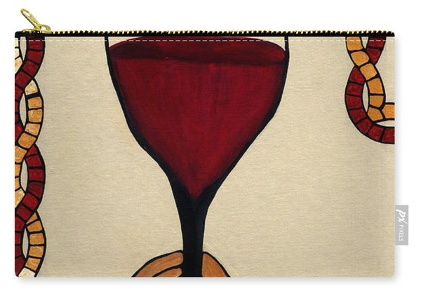 Carry-all Pouch featuring the painting Red Wine Glass by Cynthia Amaral