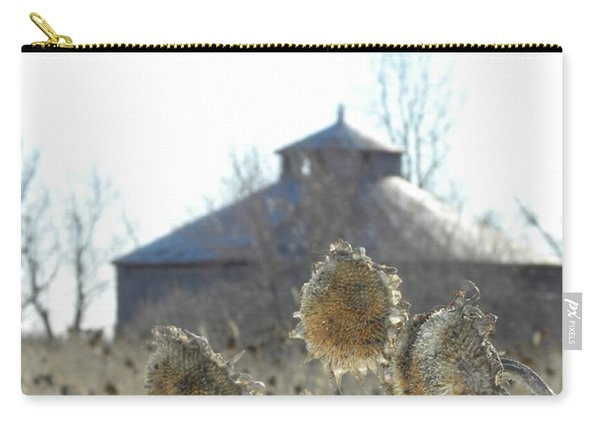 Round Barn With Sunflowers Carry-all Pouch