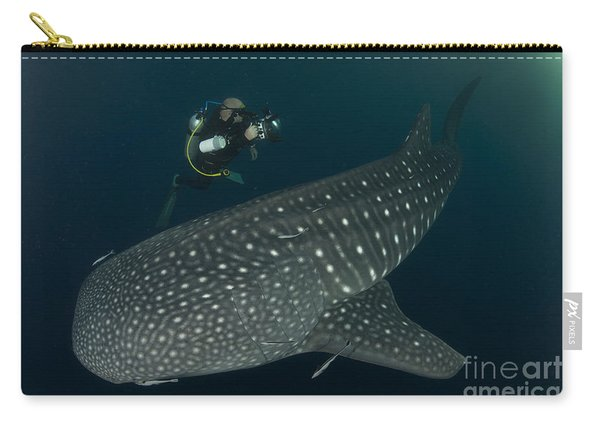 Scuba Diver And Whale Shark, Papua Carry-all Pouch