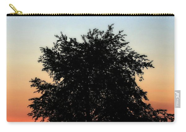 Make People Happy  Square Photograph Of Tree Silhouette Against A Colorful Summer Sky Carry-all Pouch
