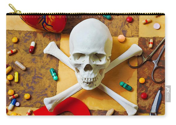 Skull And Bones With Medical Icons Carry-all Pouch