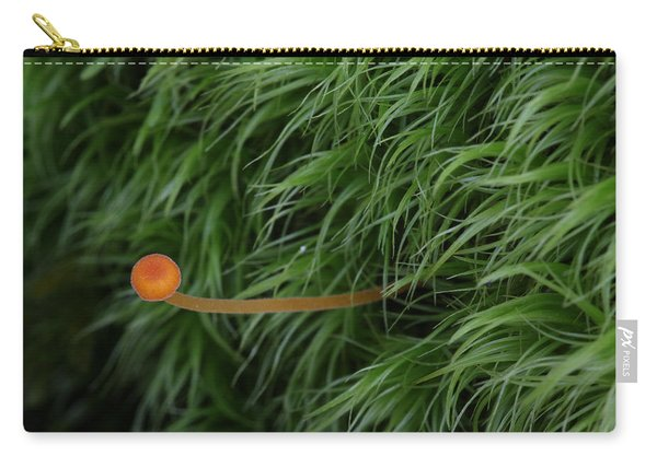 Small Orange Mushroom In Moss Carry-all Pouch