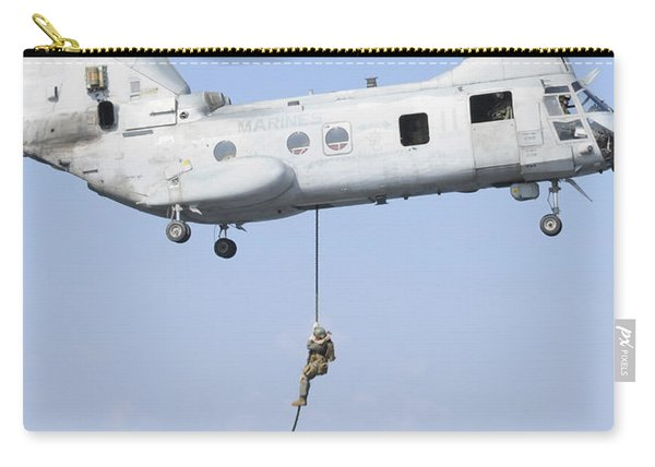 Soldiers Fast Rope From A Ch-46e Sea Carry-all Pouch