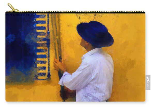 Spanish Man At The Yellow Wall. Impressionism Carry-all Pouch