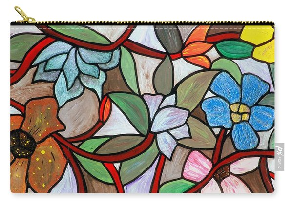 Carry-all Pouch featuring the painting Stained Glass Wild  Flowers by Cynthia Amaral