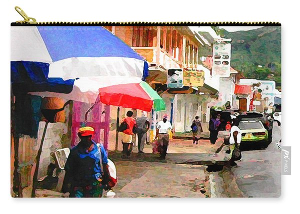 Street Scene In Rosea Dominica Filtered Carry-all Pouch