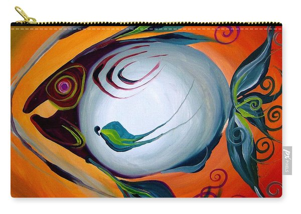 Teal Fish With Orange Carry-all Pouch