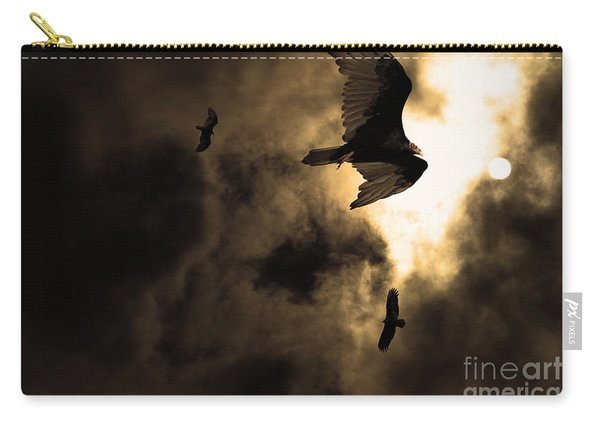 The Vultures Have Gathered In My Dreams . Version 2 . Golden Carry-all Pouch