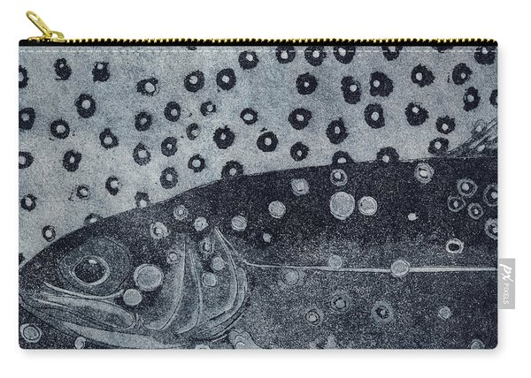 Unique Etching Artwork - Brown Trout  - Trout Waters - Trout Brook - Engraving Carry-all Pouch