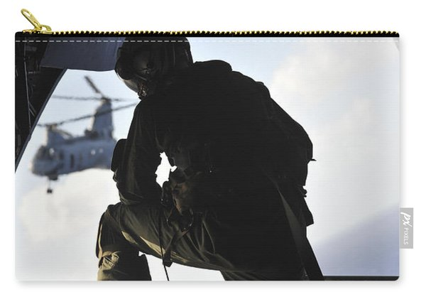 U.s. Marine Looks Out The Back Carry-all Pouch