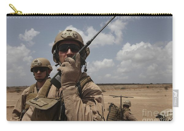 U.s. Marine Uses A Radio In Djibouti Carry-all Pouch