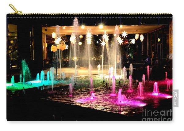 Water Fountain With Stars And Blue Green With Pink Lights Carry-all Pouch