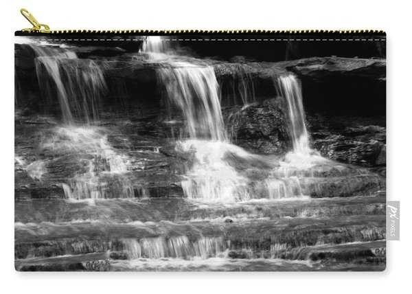 Waterfall Trio At Mcconnells Mill State Park In Black And White Carry-all Pouch