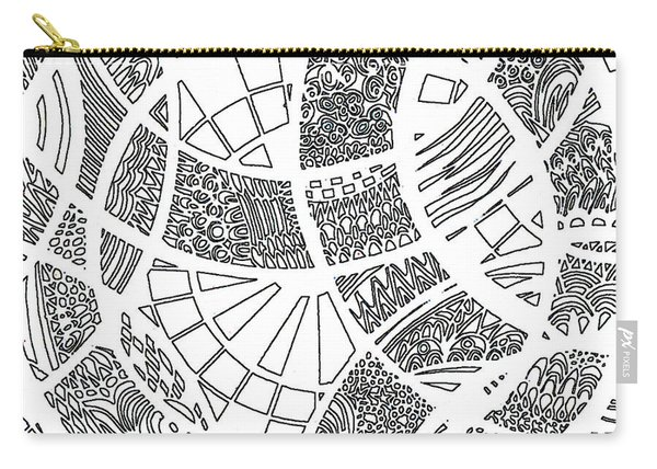 White Doodle Circles Carry-all Pouch