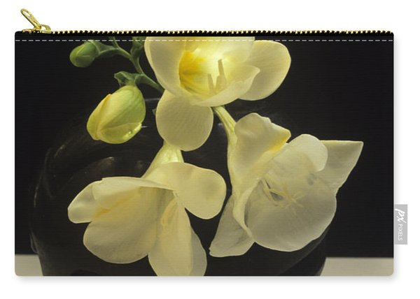 White Freesias In Black Vase Carry-all Pouch