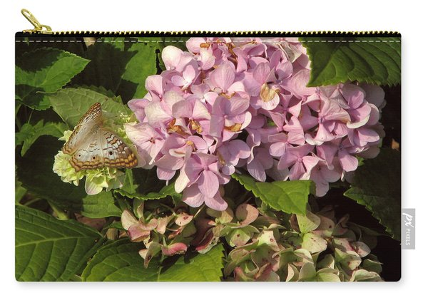 White Peacock On Hydrangea Carry-all Pouch