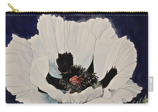 Carry-all Pouch featuring the painting White Poppy-posthumously Presented Paintings Of Sachi Spohn  by Cliff Spohn