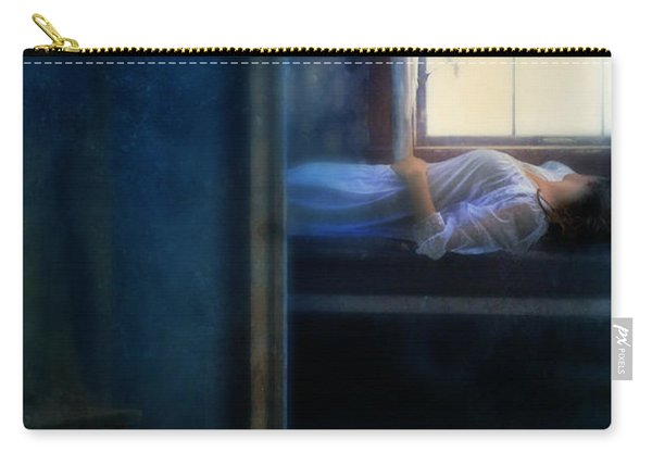 Woman In Nightgown In Bed By Window Carry-all Pouch