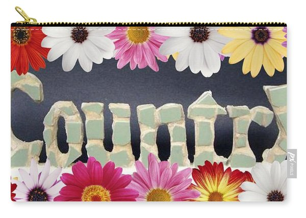 Carry-all Pouch featuring the mixed media Word Art Country Daisy 2 by Cynthia Amaral
