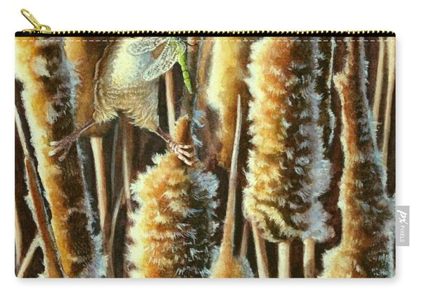 Wren And Cattails 2 Carry-all Pouch