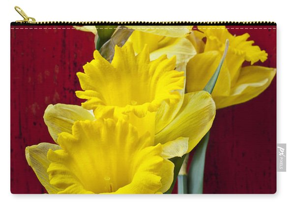 Yellow Daffodils In Checkered Vase Carry-all Pouch