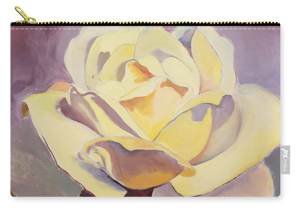 Carry-all Pouch featuring the painting Yellow Rose-1-posthumously Presented Paintings Of Sachi Spohn  by Cliff Spohn