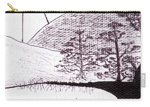 Zen Sumi Asian Lake Fisherman Black Ink On White Canvas Carry-all Pouch