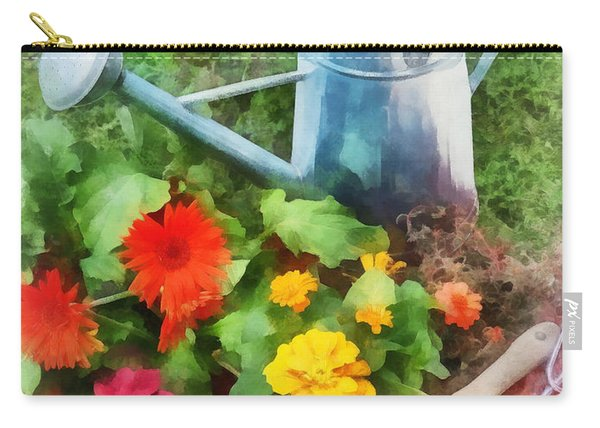 Zinnias And Watering Can Carry-all Pouch