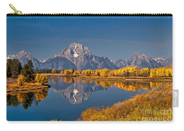 Carry-all Pouch featuring the photograph  Fall Colors At Oxbow Bend In Grand Teton National Park by Sam Antonio Photography