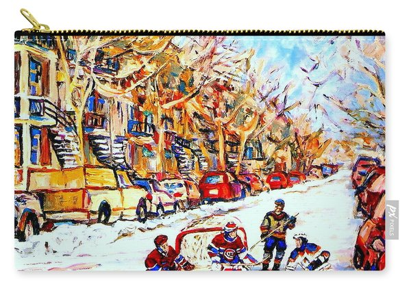 Hockey Game On Colonial Street  Near Roy Montreal City Scene Carry-all Pouch