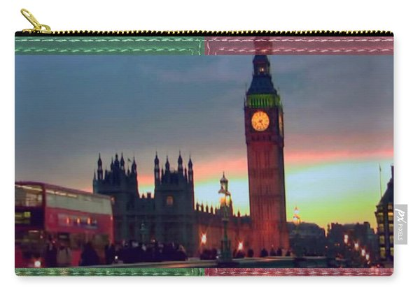 London Clock Tower And Double Deckker Bus Carry-all Pouch