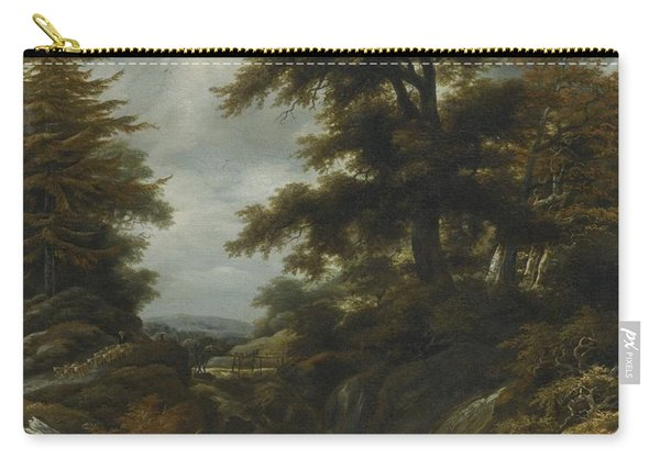 Wooded Landscape With Waterfall Carry-all Pouch