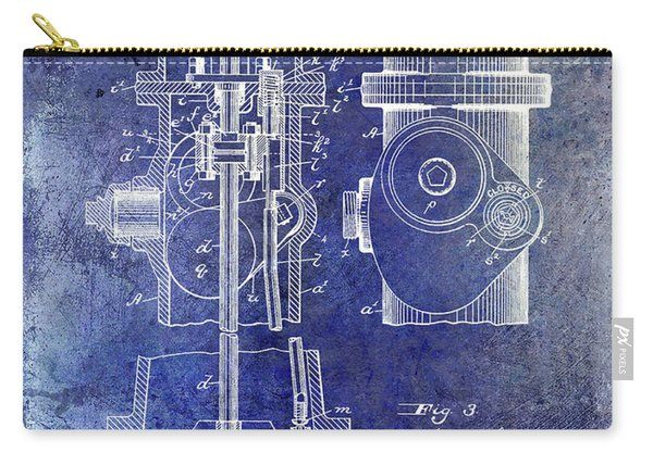 1903 Fire Hydrant Patent Blue Carry-all Pouch