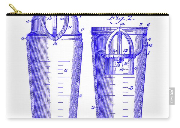 1913 Cocktail Shaker Patent Blueprint Carry-all Pouch