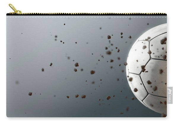 A Dirty White Panelled Soccer Ball Caught In Slow Motion Flying Through The Air Scattering Dirt Part Carry-all Pouch