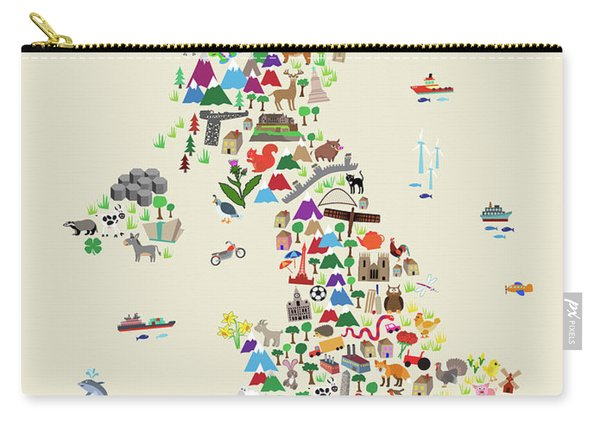 Animal Map Of Great Britain For Children And Kids Carry-all Pouch