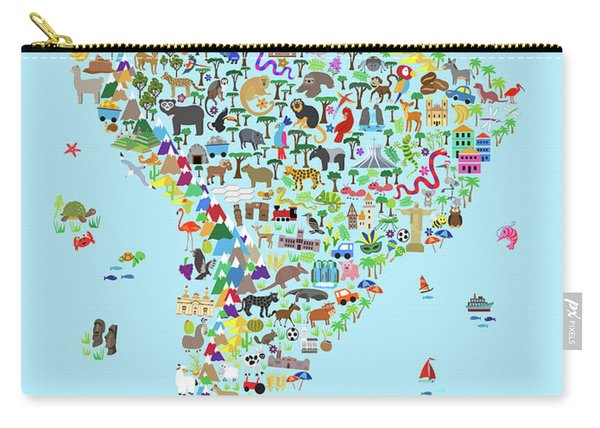 Animal Map Of South America For Children And Kids Carry-all Pouch