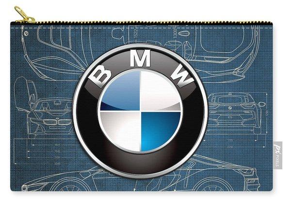 B M W 3 D Badge Over B M W I8 Blueprint  Carry-all Pouch