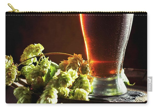 Beer And Hops On Barrel Carry-all Pouch