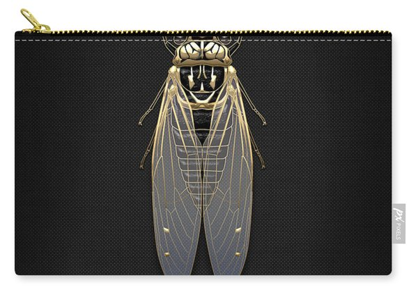 Black Cicada With Gold Accents On Black Canvas Carry-all Pouch