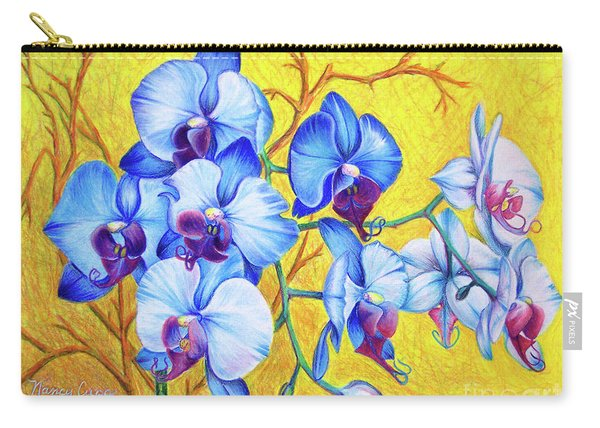 Carry-all Pouch featuring the painting Blue Orchids #2 by Nancy Cupp