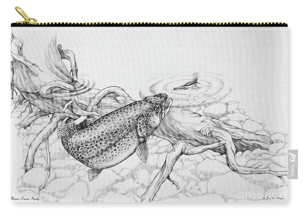 Brown Trout Pencil Study Carry-all Pouch